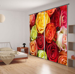 Newest Hot 100% shading polyester living room curtains with 3d floral printed curtain for wedding decoration