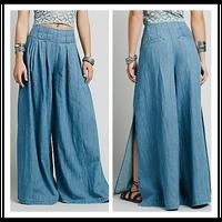 Hot Sale British Fashion Style Women Cargo Pants Soft Washing Pleated Custom Denim Jeans Skirts for Fat Ladies NT6281