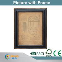 wooden glass frame with antique city picture