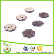 2 holes 31L matt finshed brown color gear shape high quality coconut shell custom pin button badge materials