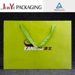 New design recycle logo printed custom promotional reusable shopping ribbon tie gift bags