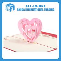 3d valentine's heart shape folding paper carving commemorative postcard