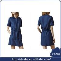 usake the trend summer ladies denim dress Restore ancient ways the a-line skirt style short sleeves ladies jeans dress