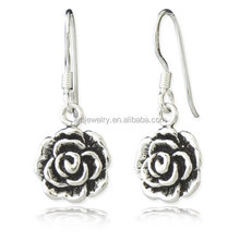 new arrival silver oxidized rose drop earring