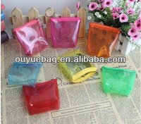 Hot selling PVC clear waterproof candy color coin bags/coin purse