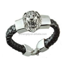 Fashion Plaza Men's Braided Leather Bracelet with Stainless Steel Lion