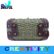 hot selling cheap price summer beach bag/natural straw bag pu handle hottest design cheap price