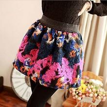Las mujeres de corea del estilo de la primavera y otoño de la flor de impresión faldas de ocio, señoras vestido de bola 7676