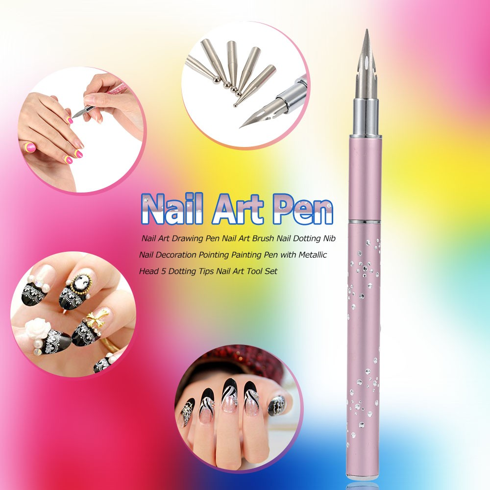 Nail Art Dotting Pen + Metal Head 5 Dotting Tip Fashion Pointing ...