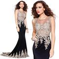 Vestido de festa chique para jovens senhoras moda Mermaid vestido espartilho Prom 2015