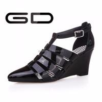 fancy color full grain leather upper women pretty wedge summer sandals
