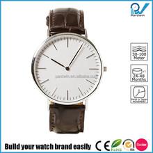 Super Slim watch stainless steel case genuine leather band quartz japan movement brand slim stone quartz watch