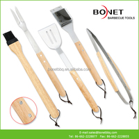 QWS0013 Rubber Wood Handle BBQ Tools Series