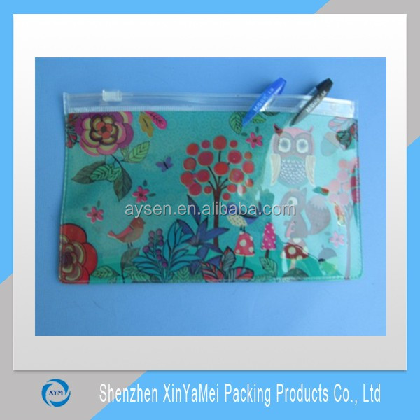 clear pvc pencil pouch with clear zipper and white slider