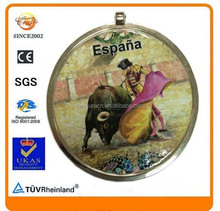 paper epoxy Spain bullfight history souvenir metal stick medallion