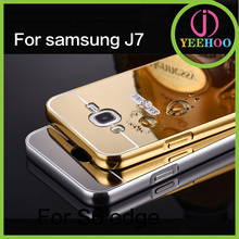 Luxury cell phone cover for Samsung J7, metal bumper with mirror back cover