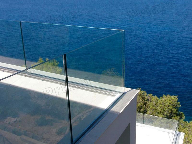 Außen deck glasgeländer design aluminium u channle glas balustrade ...