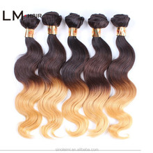 Wholesale brazilian hair body wave ombre color hair, Ombre color human hair weft, 1b ombre color hair