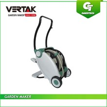 Foot pedal retract water hose reel cart with wheels,high quality 30M garden hose reel cart,new design wheeled hose reel trolley