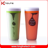 Good quality 400ml double wall coffee cup with lid (KL-5005)
