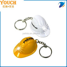 Supply Youch Mini Hard Hat Light Led Keychain/Keyring/key chain/key ring, Imprint Logo Helmet Led Keychain---Top Sellers