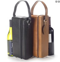high-quality orange leather wine carrier/leather wine carrier wholesale/leather wine carrier for double wines