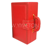 High-quality Orange Leather Wine Carrier with Handle