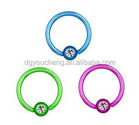 316L Stainless Steel Rainbow Color CBR Piercing Nose Rings