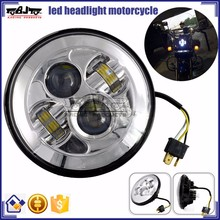 """BJ-HL-012 Custom Silver 7"""" Round 40W LED Projector Motorcycle Headlight For Harley"""