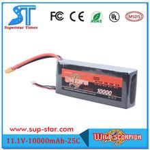 Hot Selling Newest Brand Wild Scorpion 11.1V 10000mAh 3S 25C high capacity lipo battery