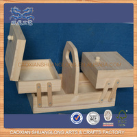 New Design Wholesale Unfinished Cheap Wooden Folding Sewing Box