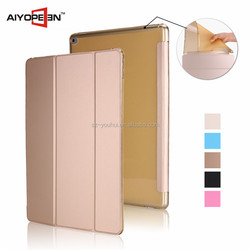 Wholesale Fashion Shockproo PU Leather and matte tpu back Case smart cover for ipad pro