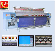 YUXING quilting embroidery textile machinery , computerized embroidery quilter 33 head , quilt embroidery production line