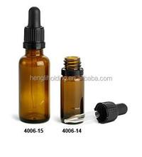 amber glass oil bottle/vial with black dropper