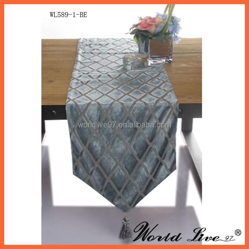 Nouveau design bleu velours daim chemin de table chemin de - Chemin de table design ...