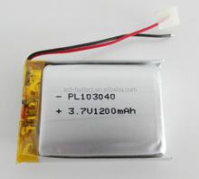 3.7v li po battery 103040 rechargeable 1200mAh