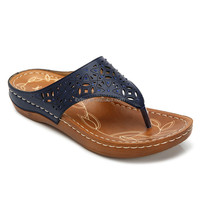 Leather pu slippers flat with soft insole dark color fancy flat sandals women