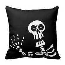 Home decor human skeleton printed wholesale halloween pillow