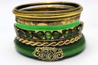 Online Wholesale Shop Vintage Green Wooden Stackable Indian Fashionable Bangle Set Retro Accessories