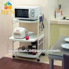 Baoyouni 3- nivel de bricolaje carro de comida de microondas soporte móvil de la carretilla de la cocina dq-1217 c1