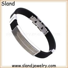 Sland custom rubber bracelets no minimum order, modern design fashion jewelry for men