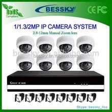 8ch complete full hd 1080p IP camera cctv system design,IR network IP camera
