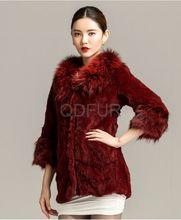 QD29646 Fábrica de mais baratos casacos de pele de coelho com pele de guaxinim 2014