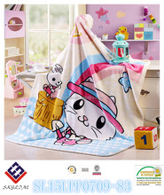 baby use textile cat printed polyester flannel blanket