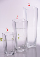 different types square glass vase