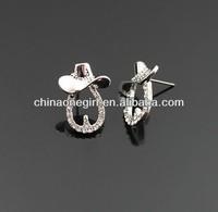 Rhinestone Horseshoe &Cowboy Hat Fashion Stud Earrings