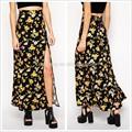 Fábrica de Guangdong verano low rise floral de la falda partida, casual faldas largas de verano