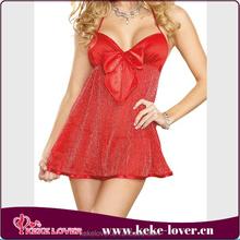 XY8014 Best selling lingerie sexy fat women babydoll lingerie plus size bow red sexy women chiffon badydoll