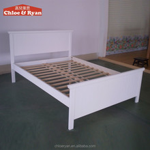 Simple designs Natural solid wood, New Zealand Pine solid wooden double bed for bedroom