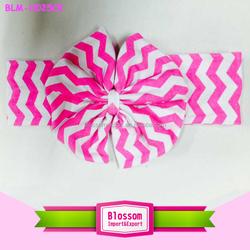 2015 Baby girl big bow hairbands chevron cotton headbands children infants bowknot headbands